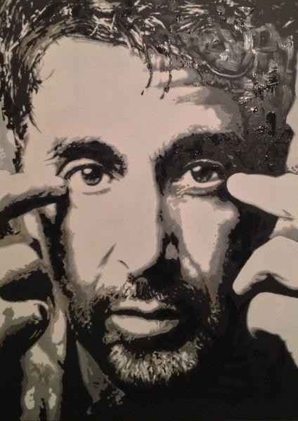 Al pacino, Portrait, Schwarz weiß, Weiß, Malerei