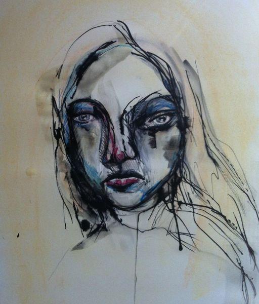 Portrait, Surreal, Augen, Gesicht, Pastellmalerei, Abstrakt