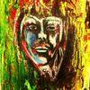 Abstrakt, Portrait, Acrylmalerei, Pastellmalerei