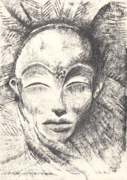 Realismus, Mystik, Portrait, Gemälde, Figural, Maske oder mensch