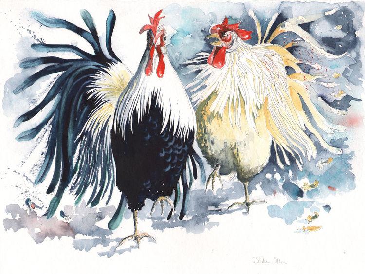 Figural, Vogel, Hähnchen, Tiere, Huhn, Hahnaquarell