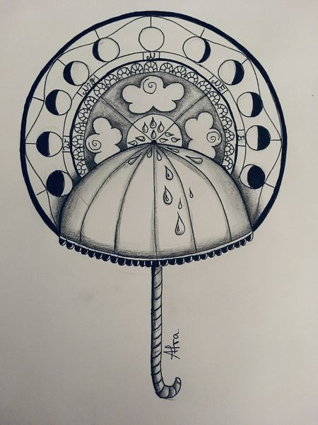 Regenschirm, Mandala, Tuschmalerei, Wetter, Kompass, Tattoo
