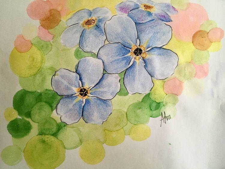 Frühling, Blumen, Vergissmeinnicht, Frühlingsblumen, Zeichnungen,