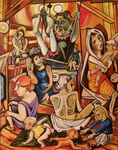 Menschen, Acrylmalerei, Malerei,