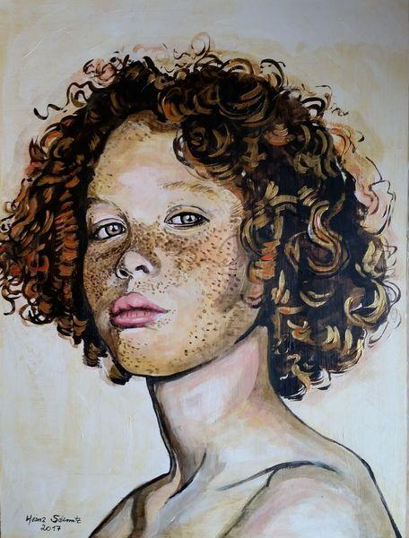 Locken, Acrylmalerei, Portrait, Malerei