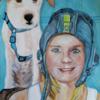 Menschen, Hund, Helm, Malerei