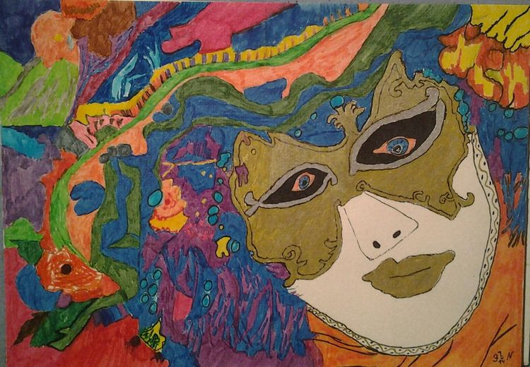 Frau, Maske, Malerei