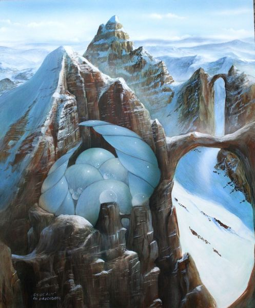 Licht, Berge, Landschaft, Brücke, Malerei, Mischtechnik