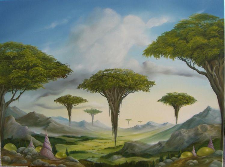 Landschaft, Schneckenhaus, Malerei,