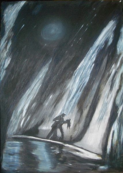 Frau, Mann, Mond, Regen, Malerei