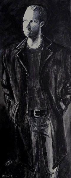 Mann schwarz weiß, Malerei