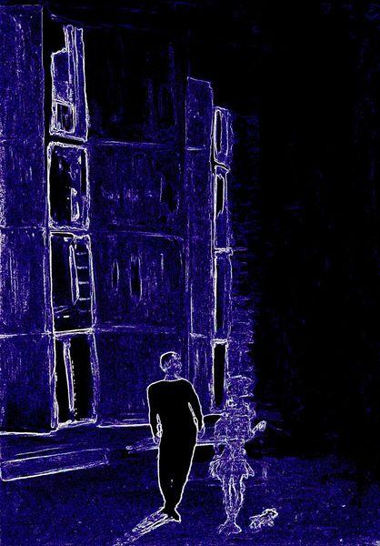 Blau mann frau, Digitale kunst