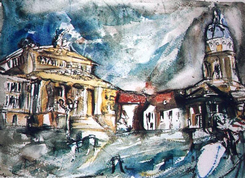 Bild architektur berlin aquarellmalerei aquarell von for Architektur aquarell