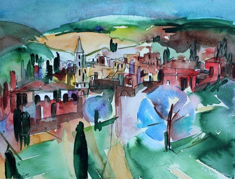 Landschaft, Toskana, Dorf, Aquarell