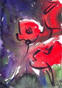 Aquarellmalerei, Pflanzen, Aquarell, Mohn