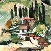 Toskana, Aquarellmalerei, Aquarell, Dorf