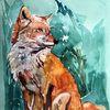 Fuchs, Tiere, Aquarellmalerei, Aquarell