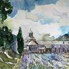 Lavendel, Provence, Kloster, Aquarell