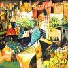 Stadt, Expressionismus, Standlandschaft, Häuser