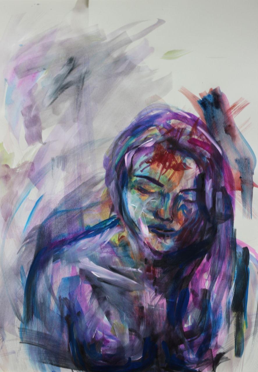 gedankenfangen blau portrait malerei lila von mamimi bei kunstnet. Black Bedroom Furniture Sets. Home Design Ideas