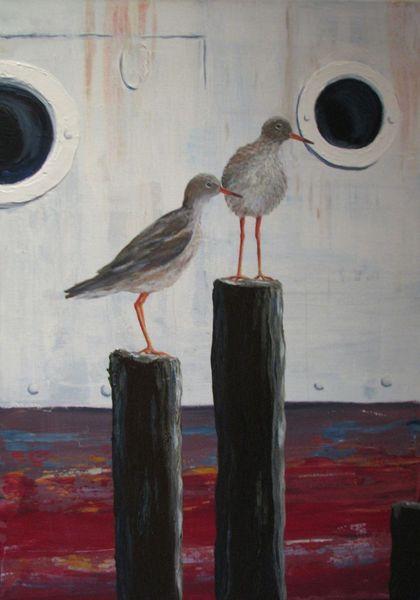 Vogel, Hafen, Rotschenkel, Tiere, Natur, Malerei