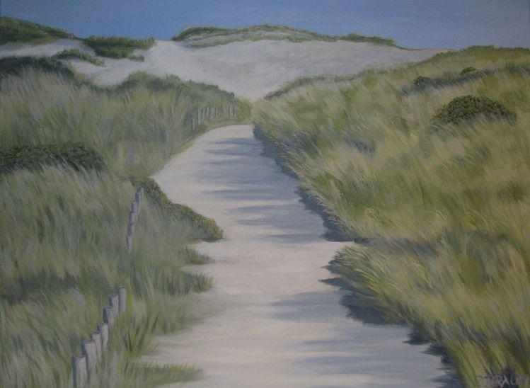 Dünen, Meer, Landschaft, Sylt, Malerei, Weg