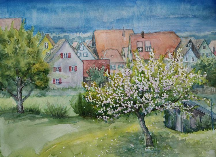 Apfel, Baumblüte, Altstadt, Aquarell