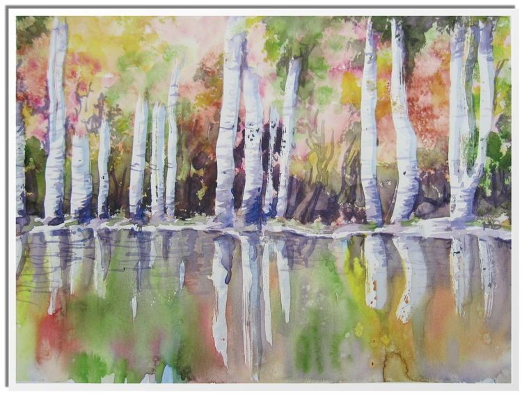 Birken, Spiegelung, Herbst, Laub, Aquarell, Paysage
