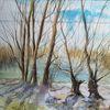 Weiden, Schilf, Altmühlsee, Aquarell