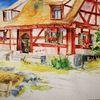 Fränkisch, Aquarell, Bauernhaus