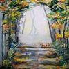 Herbst, Wald, Laub, Aquarell