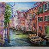 Boot, Venedig, Kanal, Aquarell