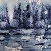 Waldrand, Paysage, Aquarell, Moor