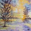Koniferen, Schnee, Aquarell, Wintersonne