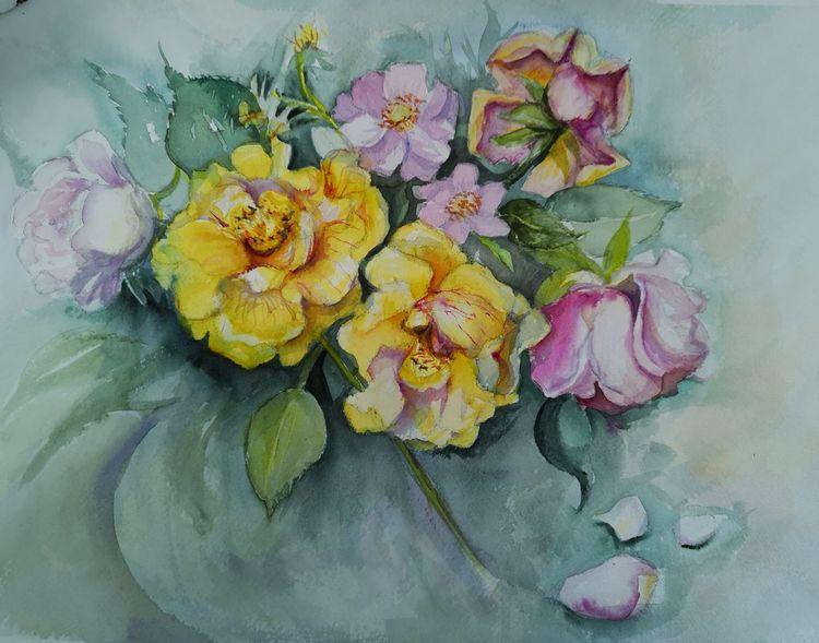 Rose, Gelb, Rosa, Aquarell