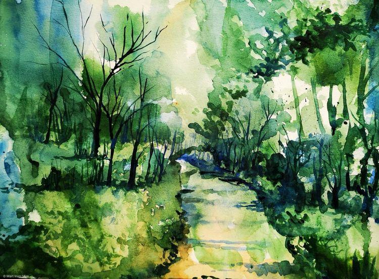 Wald, Baum, Japanisch, Aquarell, Waldweg