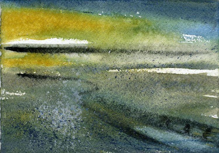 Wattenmeer, Aquarellmalerei, Skizze, Landschaft, Friesland, Küste