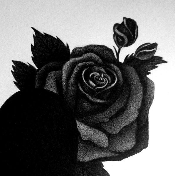 Trauer, Schwarz, Rose, Zeichnungen