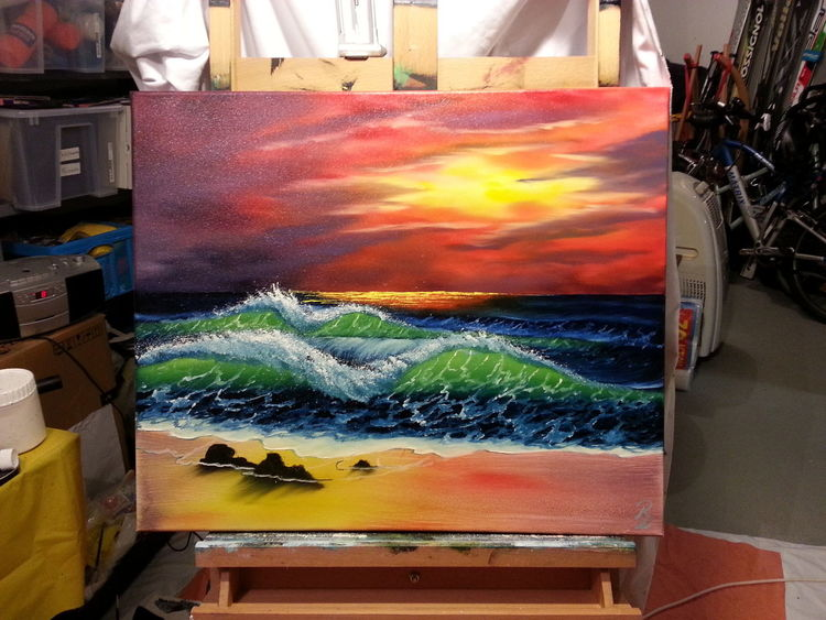 Landschaft, Heiß, Strand, Meer, Sonnenuntergang, Abendstimmung