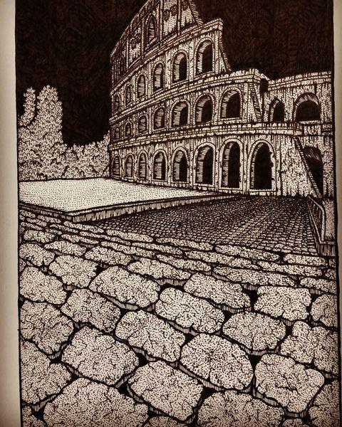 Kollosseum, Zeichnung, Rom, Inkwork, Italien, Dotwork