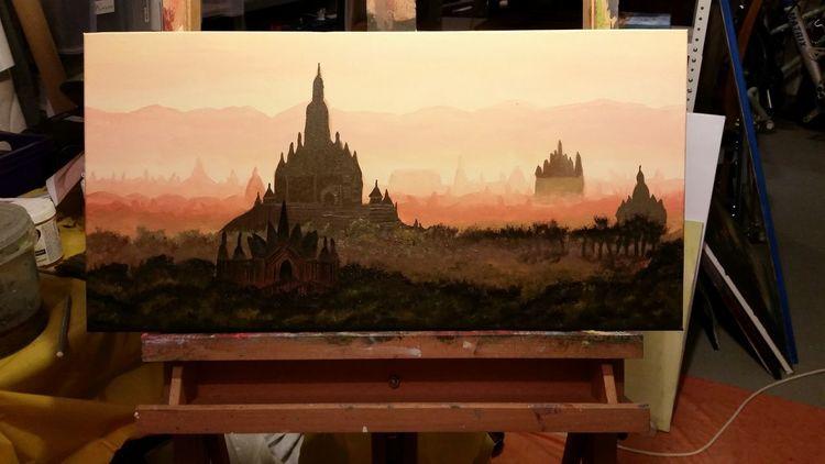 Myanmar, Ölmalerei, Asien, Landschaftsmalerei, Malerei, Tempel