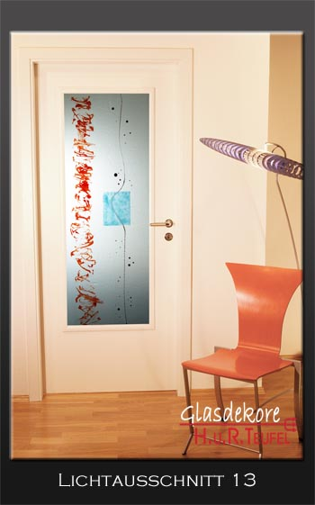 Glas, Türfüllung, Fusing, Design, Dekoration, Blau