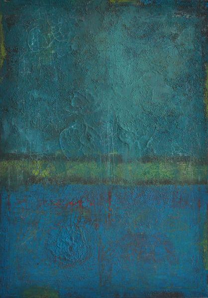 Mischtechnik, Blau, Abstrakte malerei, Grün, Acrylmalerei, Türkis