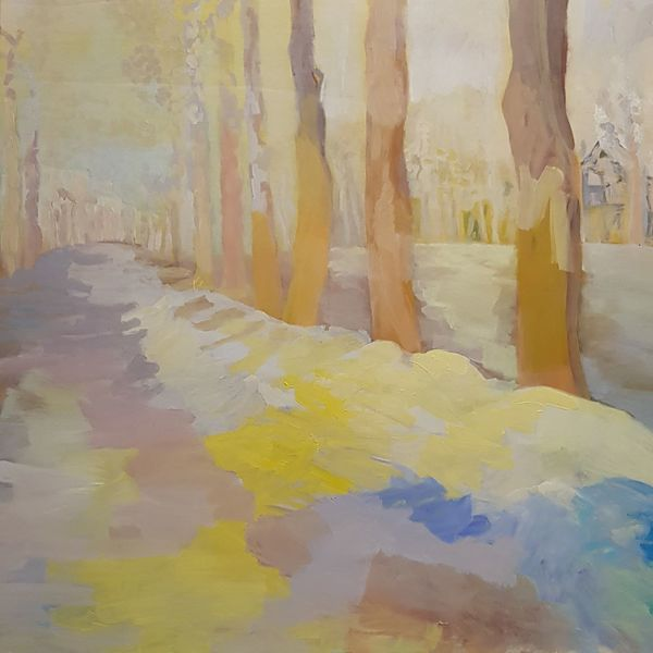 Allee, Schnee, Baum, Winter, Malerei,