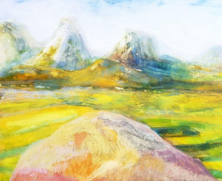 Wiese, Stein, Berge, Felsen, Feld, Malerei