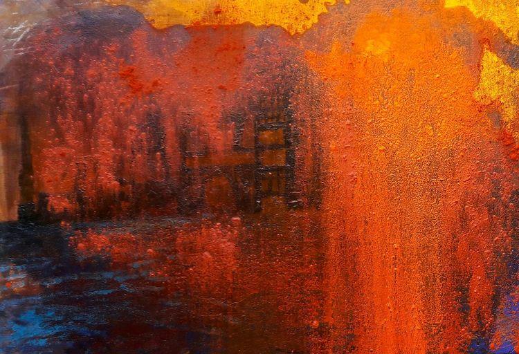 Stadt, Rot, Wasser, Orange, Blau, Abstrakt