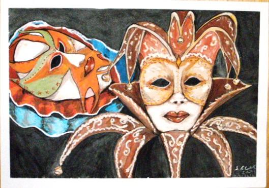 Starr, Geheimnis, Aquarellmalerei, Karneval, Venedig, Maske