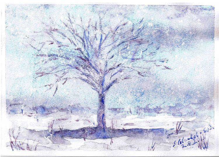 Romantisch, Winter, Weihnachten, Schnee, Aquarell