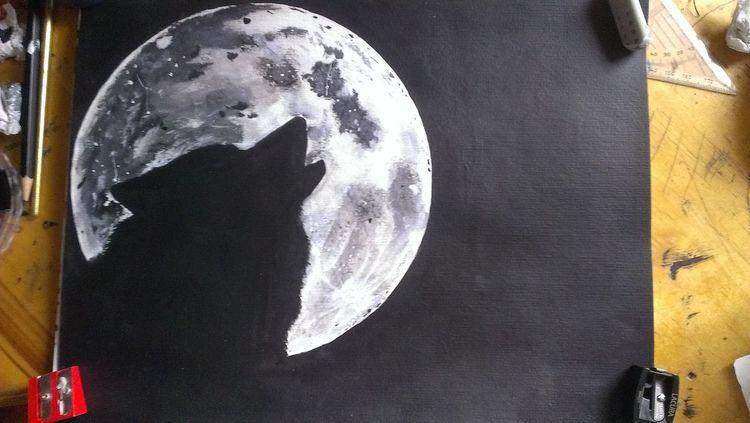 Wolf, Mond, Nacht, Malerei