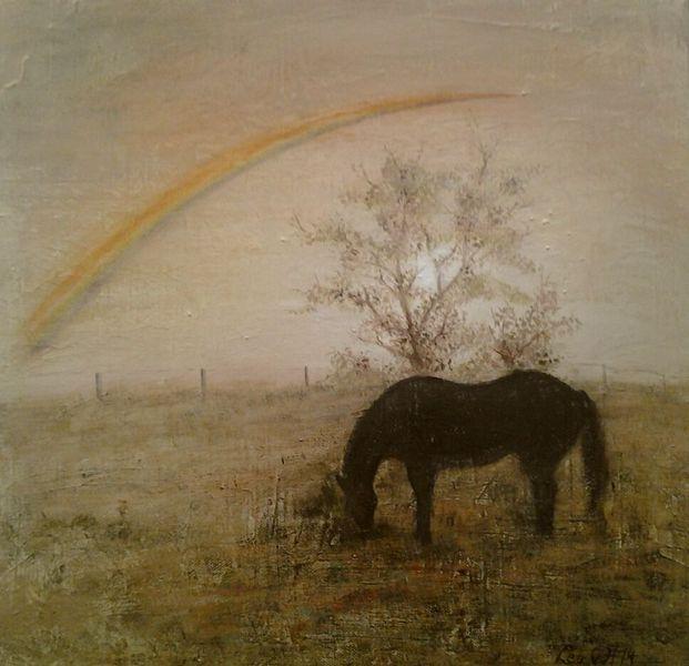 Regenbogen, Pferde, Acrylmalerei, Koppel, Natur, Sonnenuntergang